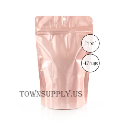 rose gold stand up pouch with clear poly front and hang hole, 4 oz. bags - Town Supply