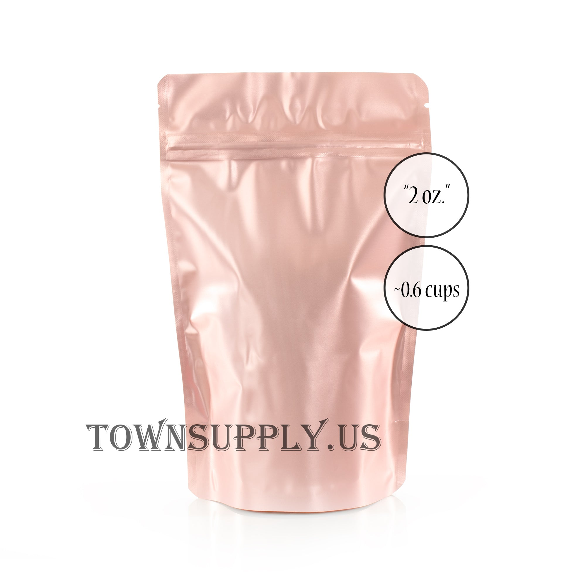 rose gold foil resealable stand up pouch, 2 oz. bags - Town Supply