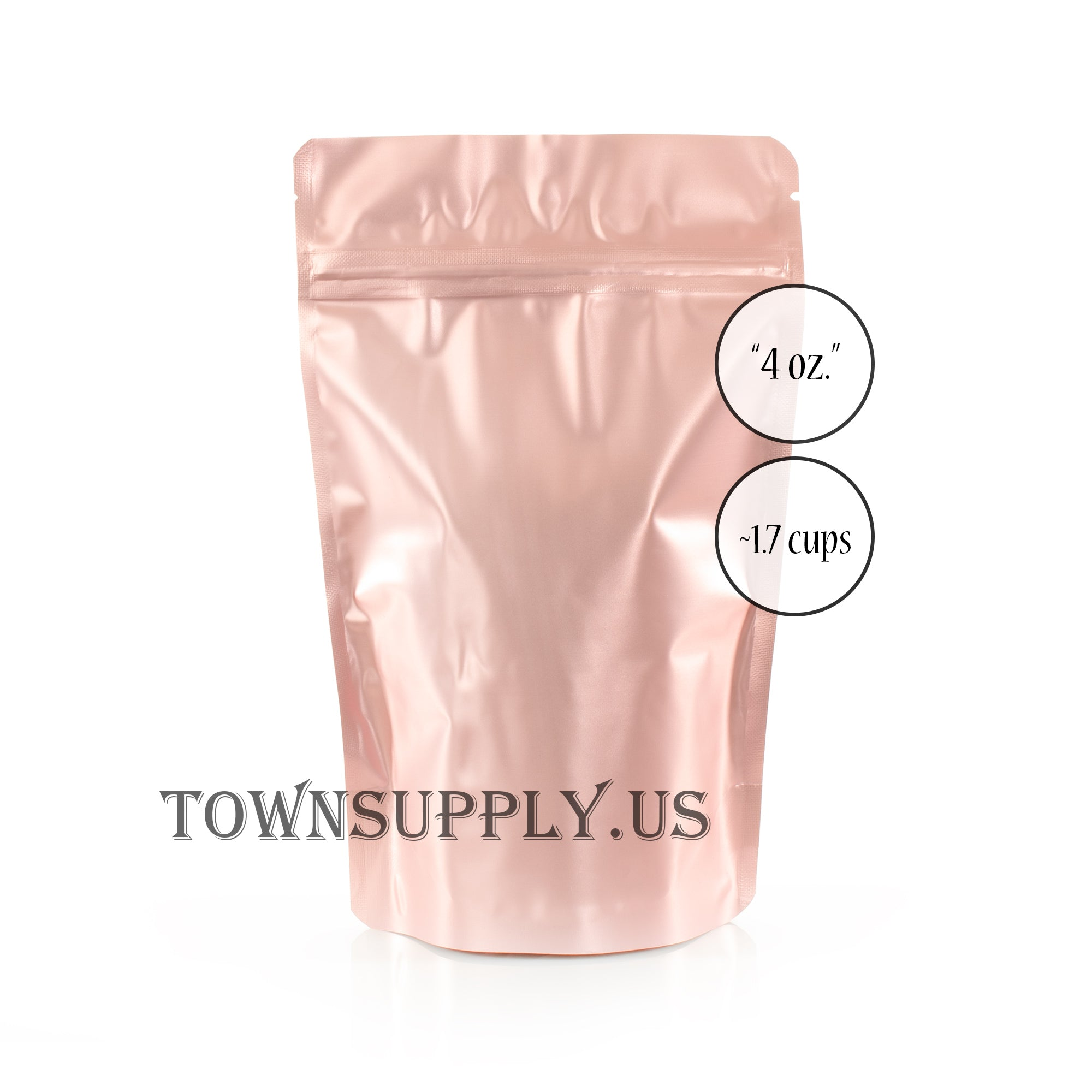 rose gold foil resealable stand up pouch, 4 oz. storage bags - Town Supply