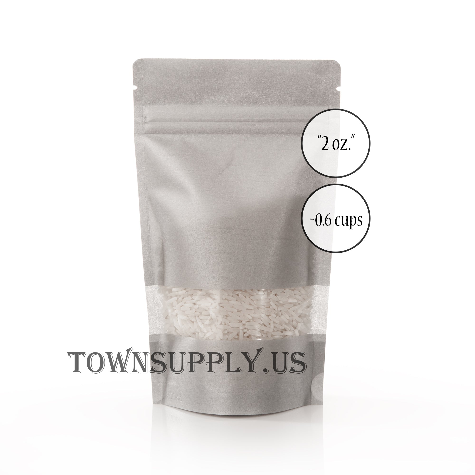 silver rice paper stand up pouch with window, 2 oz. bags - Town Supply