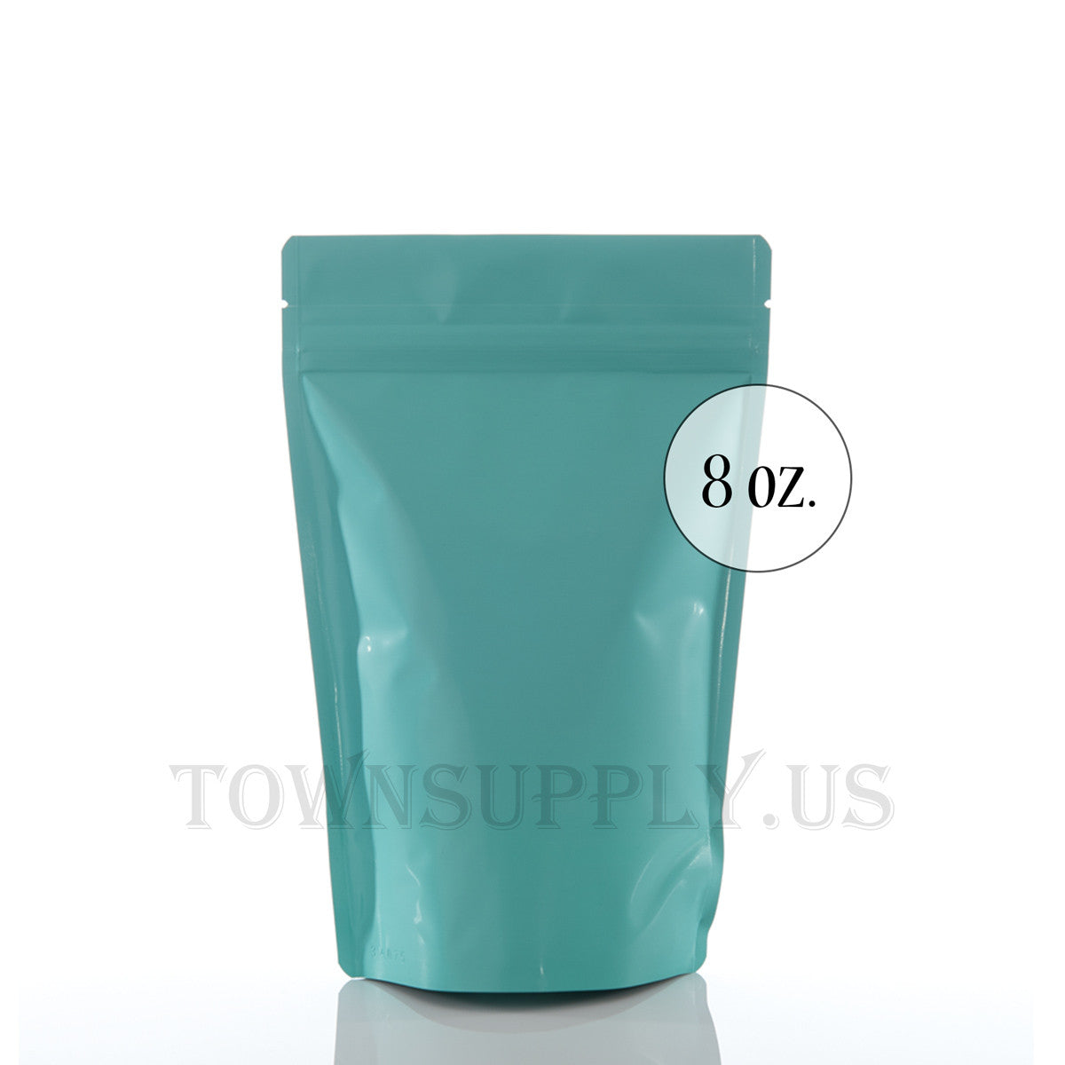 matte turquoise resealable stand up pouch with valves, 8 oz. bags, 10,000 piece lot - Town Supply