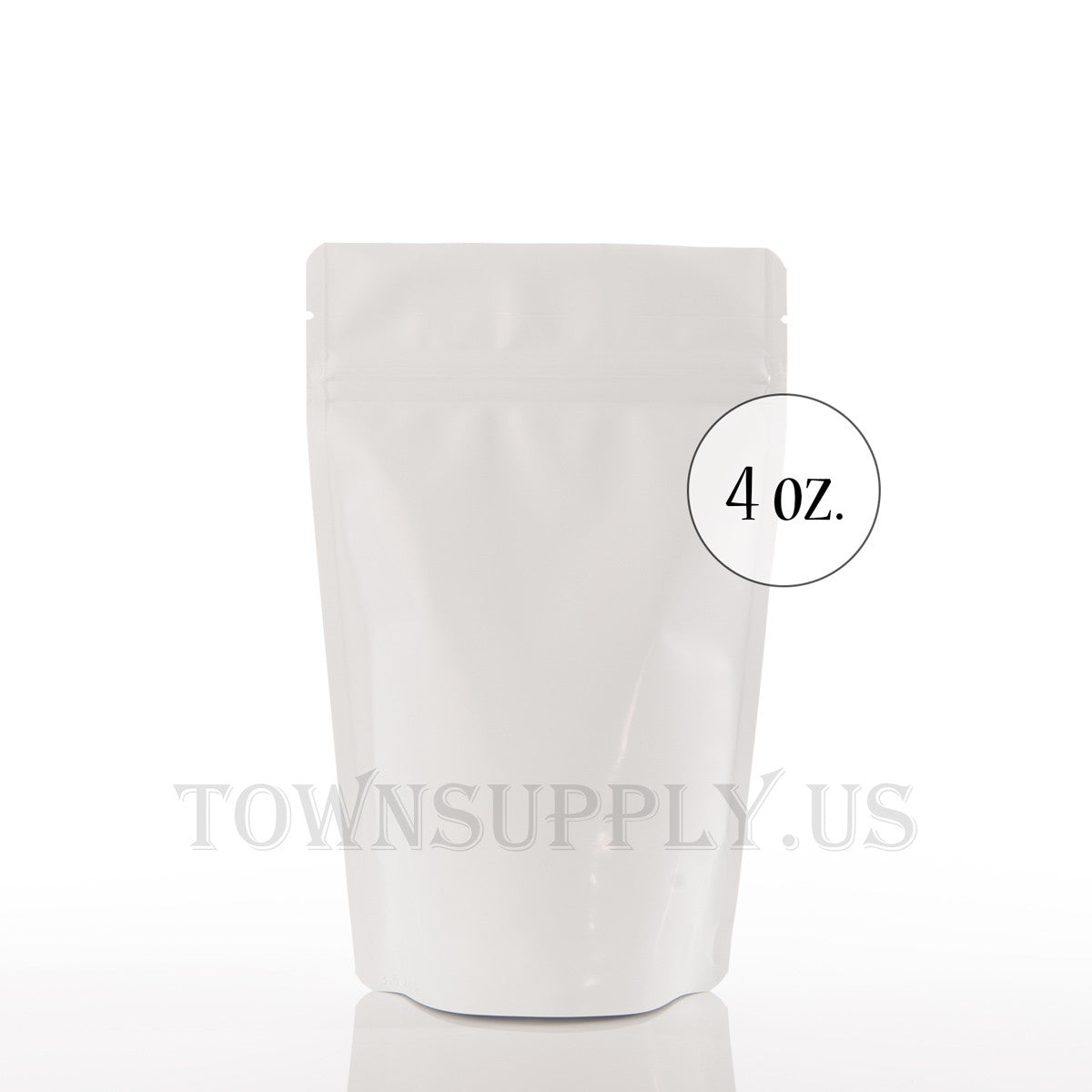 matte white resealable stand up pouch, 4 oz. bags - Town Supply