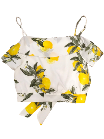 Moon River Lemon Tie Back Top