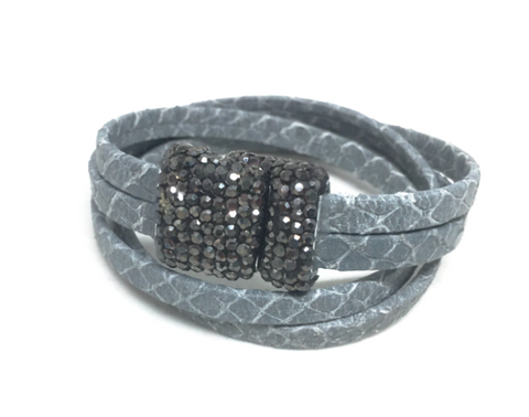 Gray Leather + Pave Double Stack Bracelet