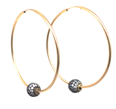 Gold Filled Hoop + Pave Earring
