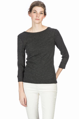 Textured Rib-3/4 Sleeve Scoop Back Top