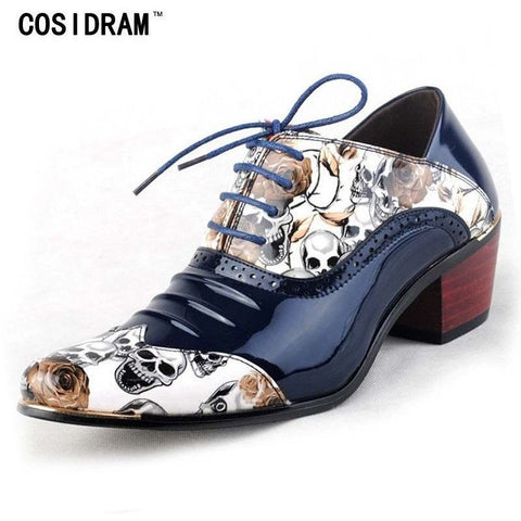 COSIDRAM Genuine Leather 3D Skull Printed Party Wear Shoe