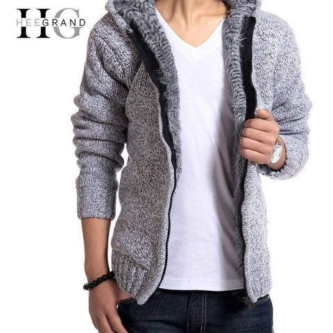 HeeGrand Winter Fur Lining Casual Zipper Hoodie for Men