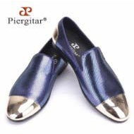 Piergitar New Style Blue and Red Plaid Sheepskin Front and Back Metal Toe Handmade Premium Shoes