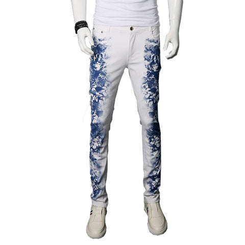 Flower Printed Slim Fit Denim Trousers