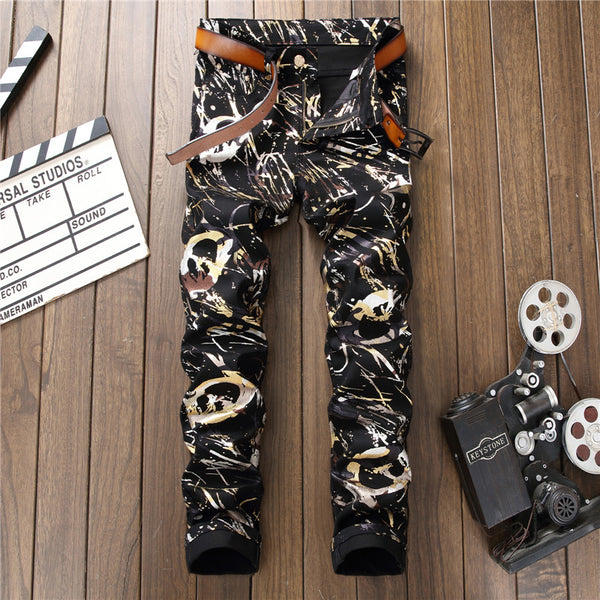 Men's Casual Graffiti Designed 3D Printed Denim Jeans