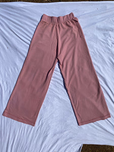 The pink french terry bell bottoms