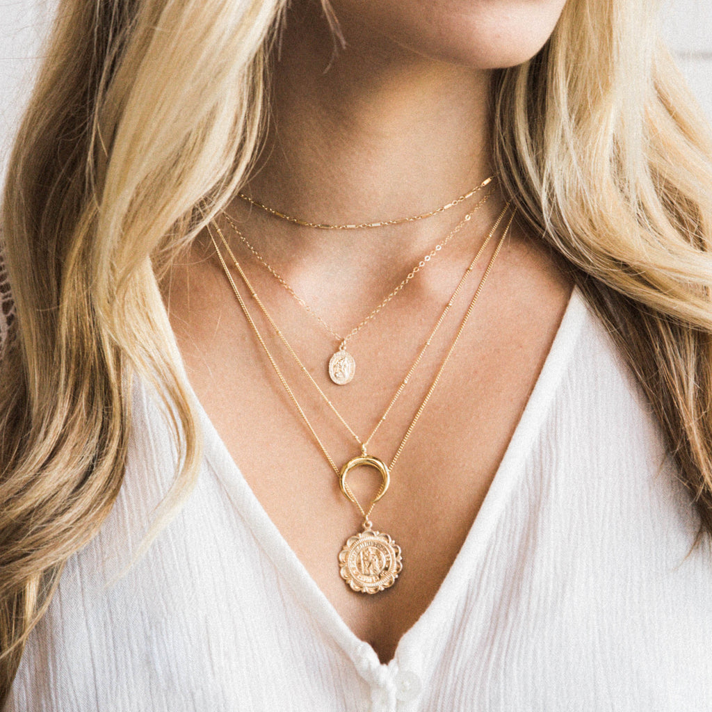 Layered Necklaces - Shimmer Choker, St. Christopher Necklace, Horn Necklace, Traveler's Coin Necklace | Simple & Dainty