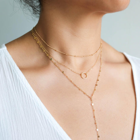 Layered Necklaces with Lariat