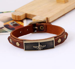 Brown Leather Farvahar Bracelet