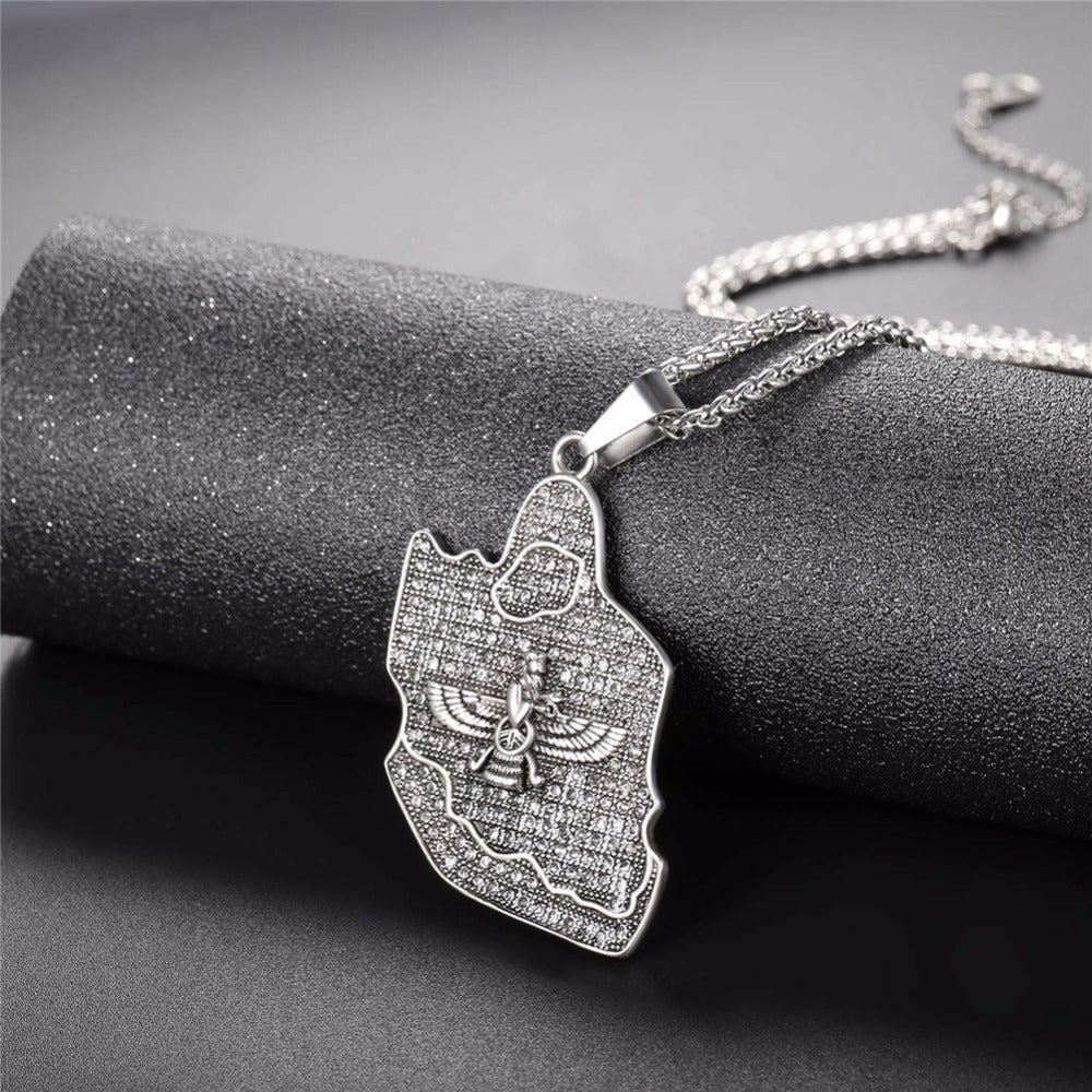 Farvahar Persian Map Necklace