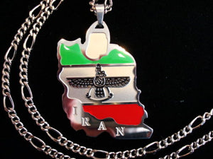 Iran Map Flag Necklace