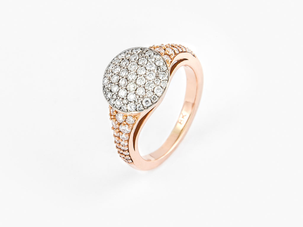 18k Rose Gold & Brilliant Round Diamonds 0.63ct Note: Intended as a pinky ring
