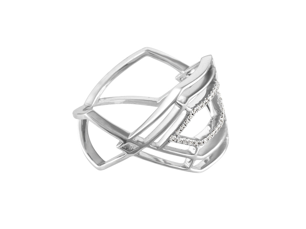 Hexa Ring - White Gold Side View