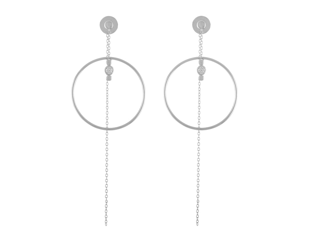 Lariat Earrings - White Gold