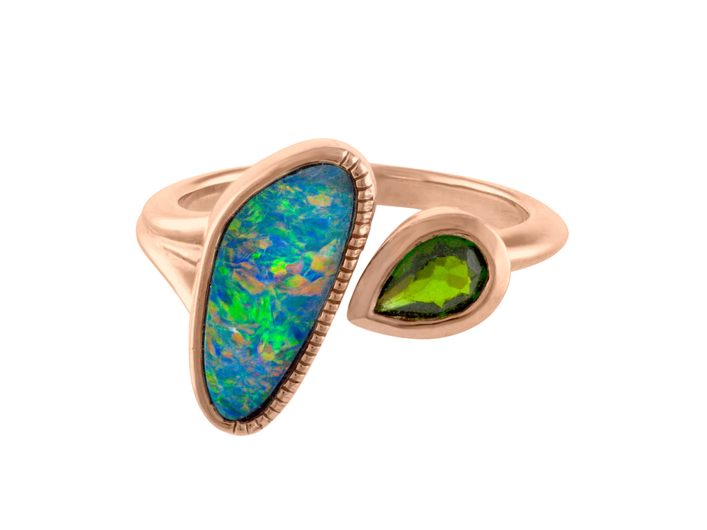 Opal Diopside Ring