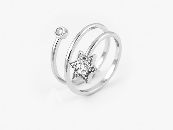 Riley Ring side view - White Gold