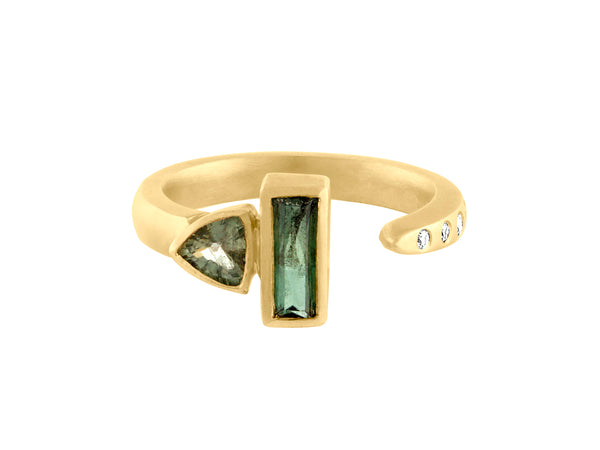 Sapphire Stackable II - Yellow Gold, Green Sapphires and Brilliant Round Diamonds