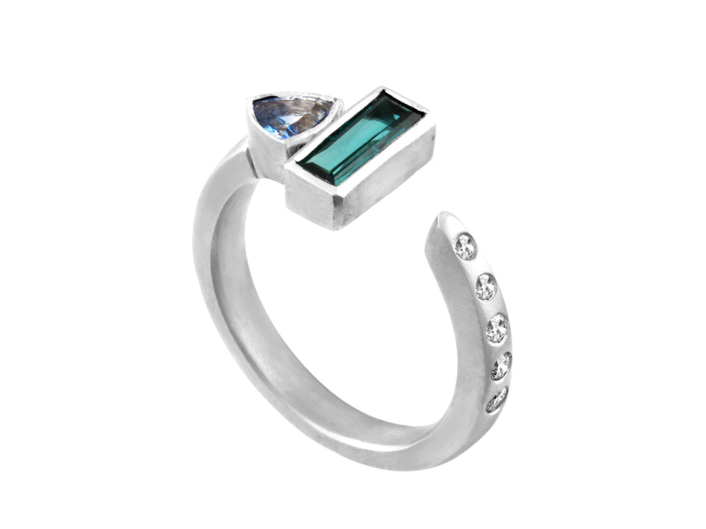 Sapphire Stackable - White Gold Side View