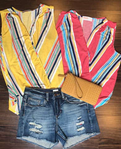 colorful tanks, tank tops, tops, wrap tanks, stripe tank, spring fashion, fashion trends, style, comfort, flattering tops, blue jean shorts, weaved clutch wallet, wristlet, accessorize, camel wallet, yellow, coral, tops, summer looks