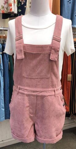 Dusty Mauve Corduroy Short Overalls
