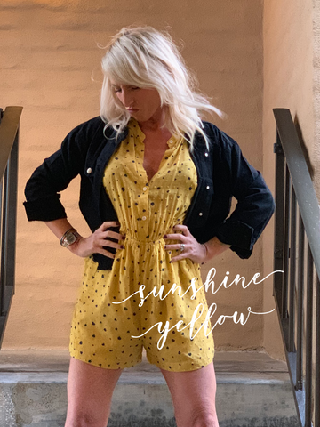 Yellow Spring Romper is hot for Spring 2019 and a great bright color.