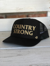 Country Strong Trucker Hat - Black by Mother Trucker & co