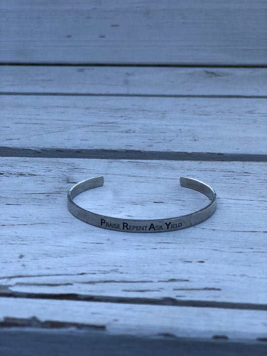 Silver Metal Bracelet - Praise, Repent, Ask, Yield