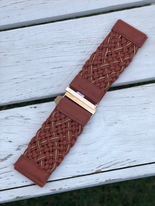 Brown Weaved Cinch Belt with Gold Clasp  You can't go wrong adding a cute belt to any outfit. Check out our latest stylish belts.  Ships from the USA, unique style, fashion trends, country girl, stagecoach festival belts
