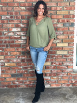 Long Sleeve Olive Green Blouse with Criss-Cross Detail
