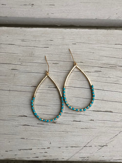 Gold Earrings with Turquoise Beads