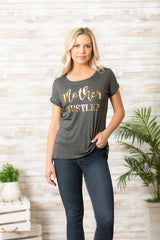"""Mother Hustler"" short sleeve tee w/gold print is for the Moms out there hustling everyday! NEW ARRIVALS! New for the season styles and comfortable Fall fashion. OC Social Butterfly boutique, unique style, fashion, comfortable, tops, Momlife, Hustle, ships from the USA"