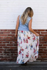 White Skirt with Floral Print