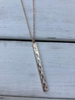 Gold Long Necklace w/vertical bar