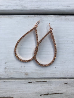 Rose Gold Teardrop w/crystals