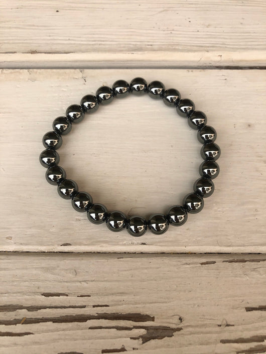 Handmade Beaded Unisex Bracelet - Metallic Silver Beads