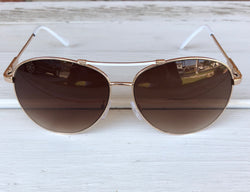 Aviator Sunglasses - White