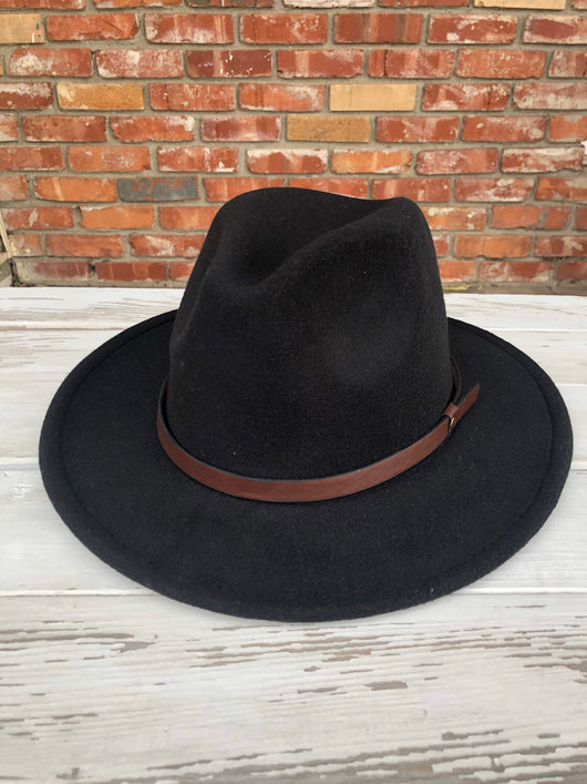 Black Short Flat Brim Fedora Hat w/Brown Strap & Adjustable Sizing