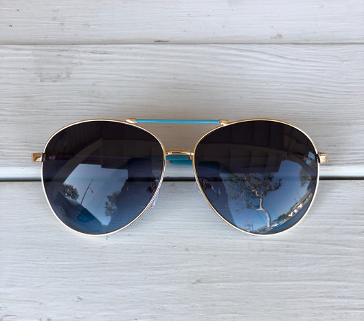 Aviator Sunglasses - Blue Frame with Gold is the perfect accessory. OC Social Butterfly brings together a specially curated collection of clothing and accessories. From the latest trends to the most comfortable everyday attire at an affordable price.   Ships from the USA, accessory, summer vibes, stylish sunglasses