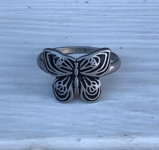 Butterfly Antique Silver Wrap Ring