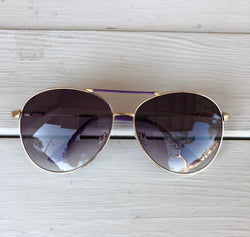 Aviator Sunglasses - Purple Frame with Gold is the perfect accessory. OC Social Butterfly brings together a specially curated collection of clothing and accessories. From the latest trends to the most comfortable everyday attire at an affordable price.   Ships from the USA, accessory, summer vibes, stylish sunglasses