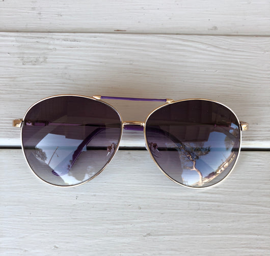 Aviator Sunglasses - Purple Frame with Gold