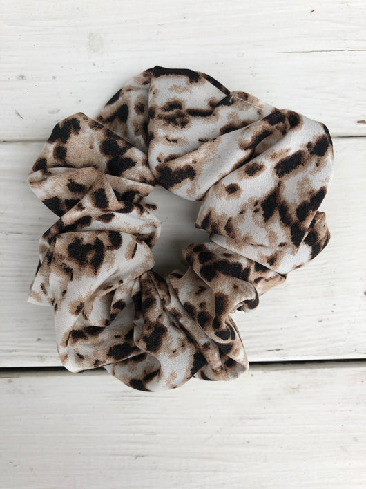 Cream & Brown Animal Print Hair Scrunchy