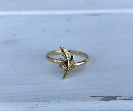 Gold Feather Adjustable Ring