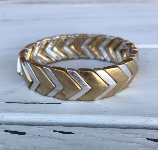 Gold & Silver Mixed Metals Chevron Stretch Bracelet